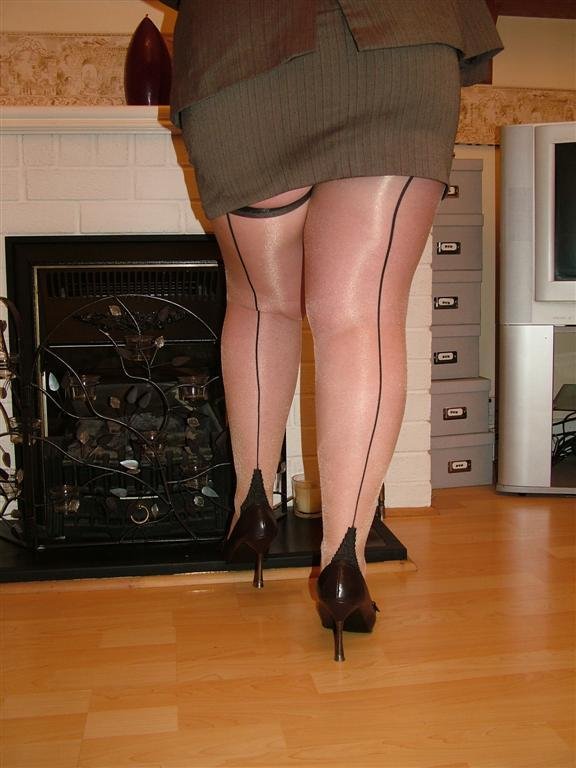 Granny in seamed stockings