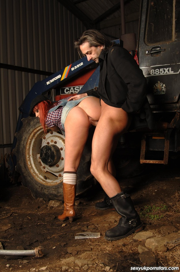 Horny Farm Girl Wearing Multi Colored Checkered Shirt Inside Her Blue Suspenders And Brown Leather Boots Gets Fucked In Different Positions By A Hot Stud In