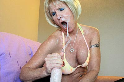 Freckled Blonde Granny Has Just Taken Facial After Handjob