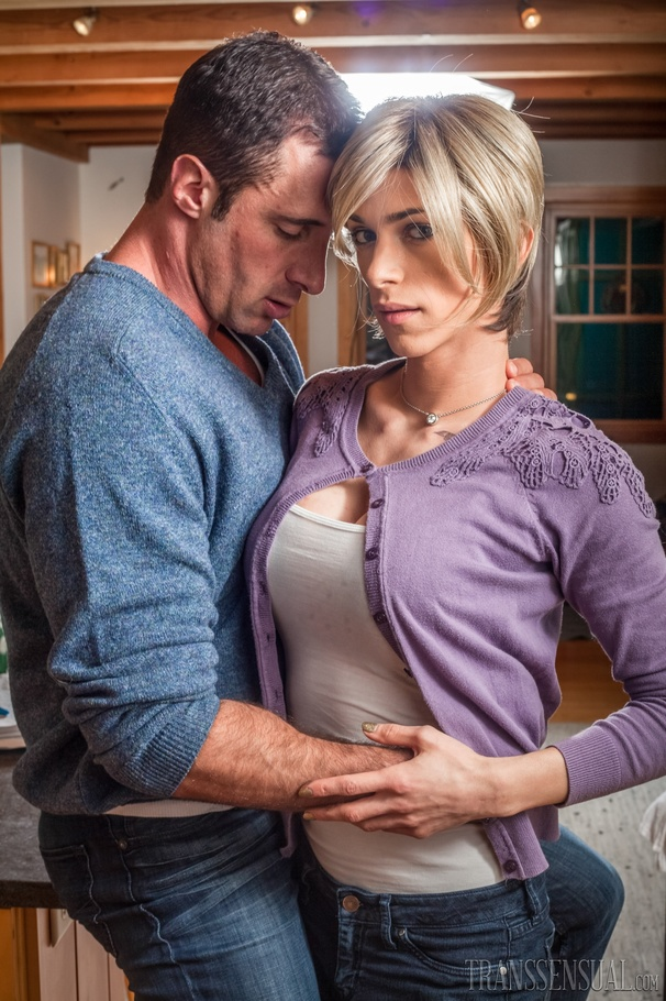 Blonde Shemale In Violet Sweater, Gray Shirt And Blue Jeans Gets Naked And  Sucks Her Hunk Boyfriend's Cock Before She Lets Him Fuck Her Ass In  Missionary, ...