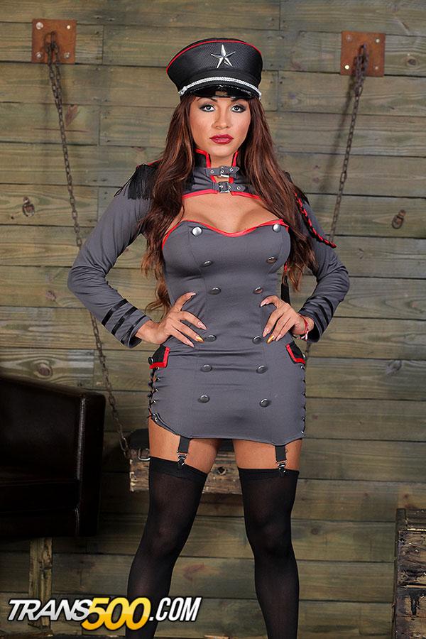 Sumptuous Shiela-With-A-Middle Leg In A Grey General Uniform ...
