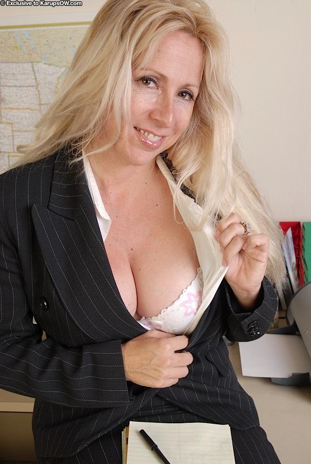 Blonde lingerie curvy secretary