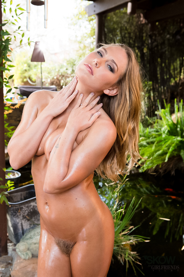 Oiled up blonde gets it good