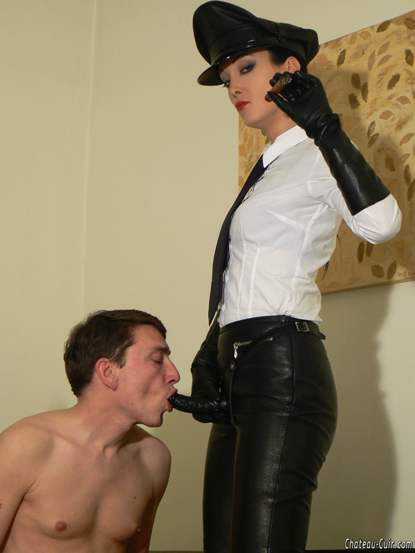 Red Lipped Chick In Leather Military Uniform Forced Nude -8040