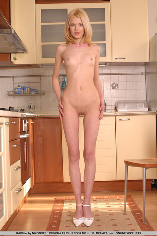 cute blonde model prances