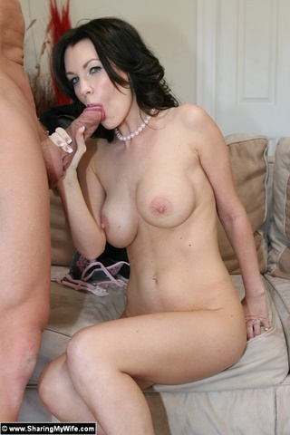pretty brunette wife sucking