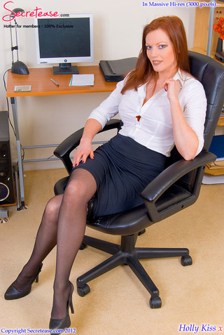 redhead secretary red undies