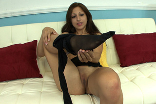 sexy brunette takes black