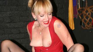 blonde milf red dress