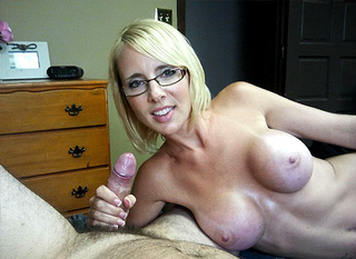 Blonde milf in glass