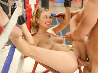 ponytailed blonde boxer girl
