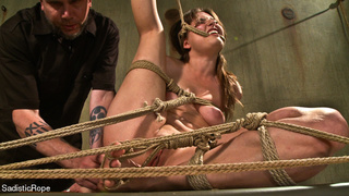 gag-balled chick roped hung