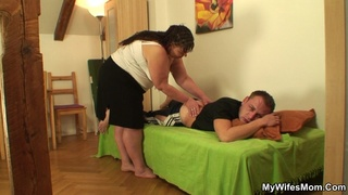 chubby brunette mother-in-law sucking