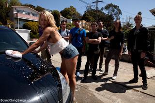 blonde car-washer seized gag-balled