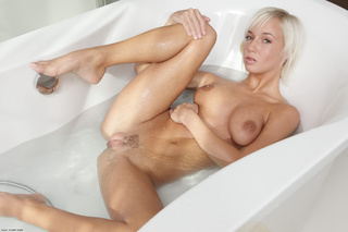 blonde whore playing with
