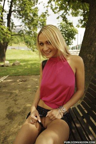 blonde, public, sperm, talk