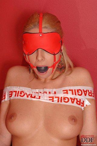 naked ballgagged blindfolded blonde