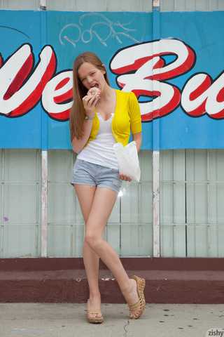 adorable slim long-haired teen
