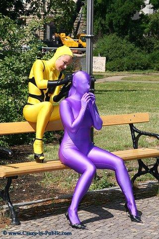 horny yellow violett zentai
