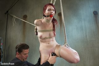slim babe roped hung