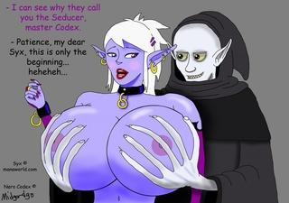 busty purple-skinned fairy banged