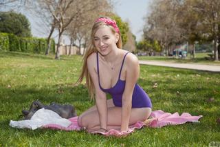 blonde hottie blue swimsuit