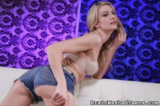 busty blonde slut stimulating