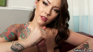 tattooed brunette vixen huge