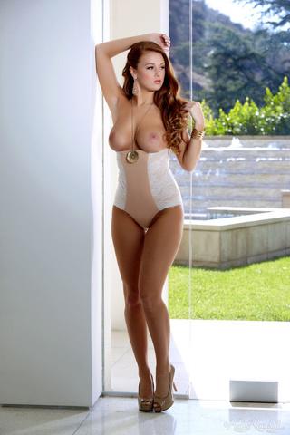 tatooed gal beige lingerie
