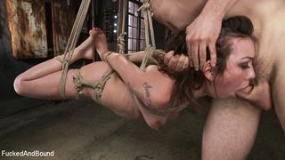 inked brunette bondage gag-ball