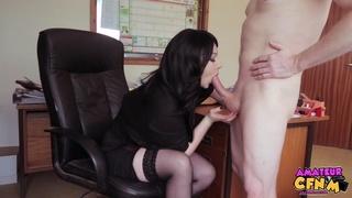 brunette boss black stockings