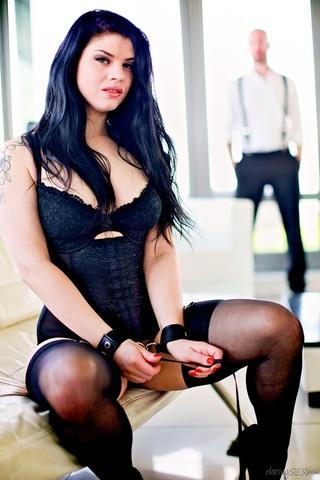 raven-haired beauty black lingerie