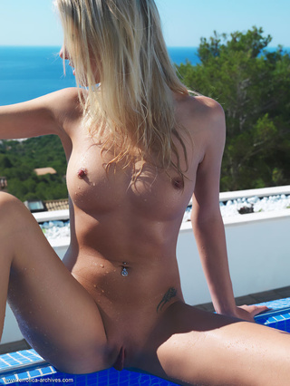 poolside posing blonde birthday