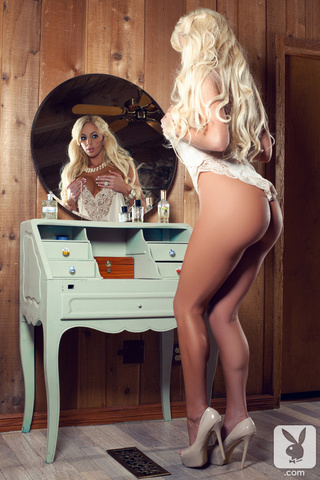blonde lacy white teddy