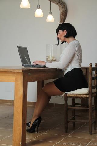 professional slut puts computer