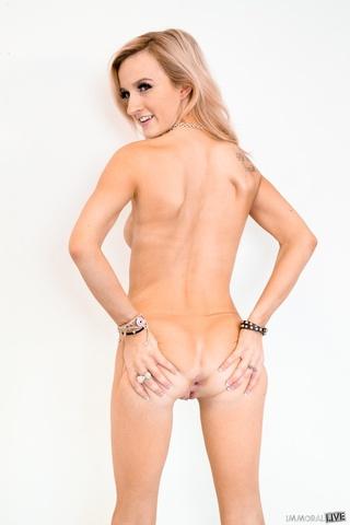 attractive blonde pierced navel