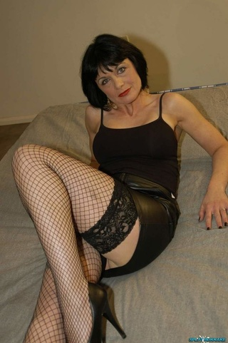 mature chick wearing black