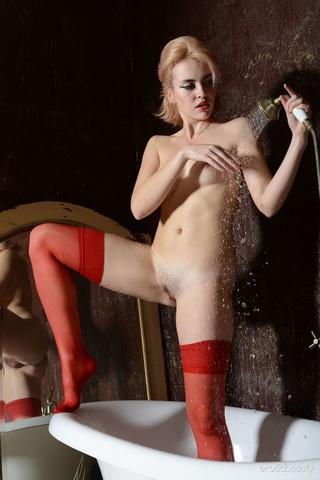 nasty fair-haired girl shower