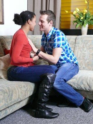 ebony ponytailed chick giving