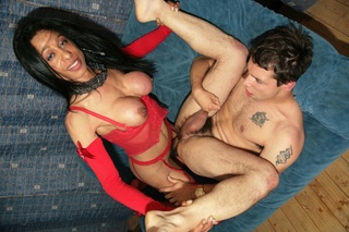 shemale red lingerie pushing