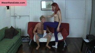 dude, handjob, redhead, socks