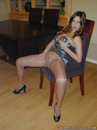 dress, pantyhose, table