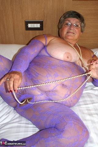 nasty granny wearing violet