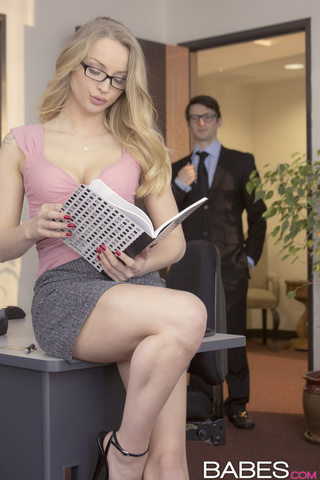 blonde office girl seduces