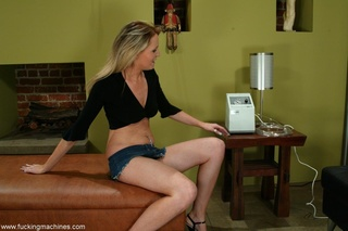long-legged blonde brings machine