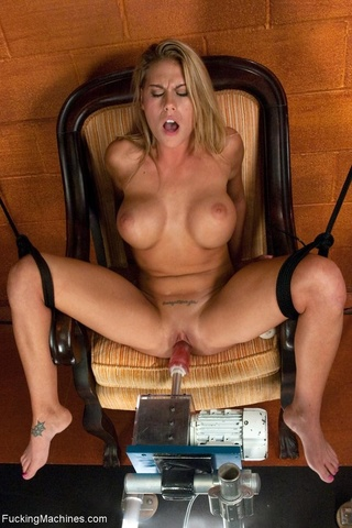 blonde, drilled, fucking machines, tied up