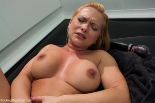 blonde, butt, drilled, fucking machines