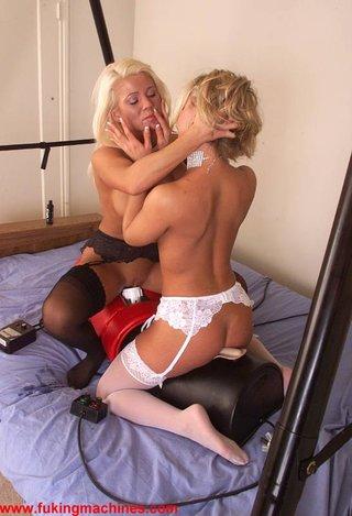 69, blonde, fucking machines, lingerie