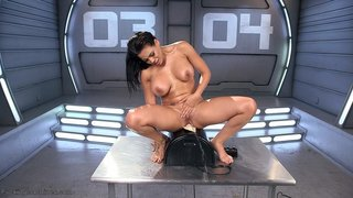 brunette, drilled, fucking machines