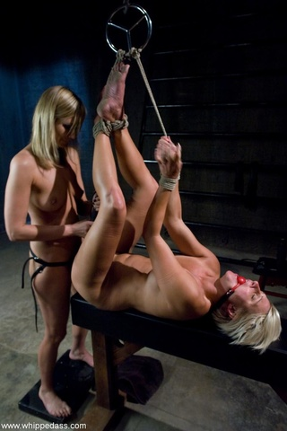 tied blonde bitch gets